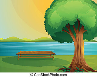 A river and wooden bench - Illustration of a river and...