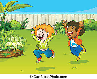 Playing kids in a garden - Illustration of playing kids in a...