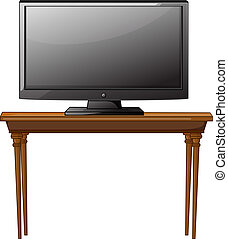 A television ona table