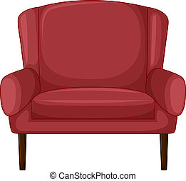 A cushion chair - Illustration of a cushion chair on a white...