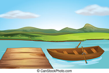 A boat and a landing stage - Illustration of a boat and a...