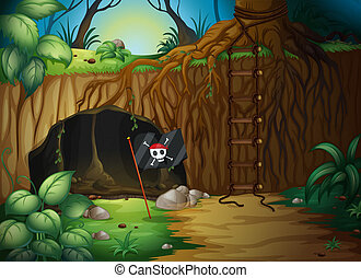 A cave and a pirate flag - Illustration of a cave and a...
