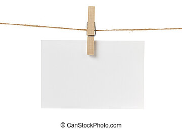 blank white paper card hanging, isolated on white