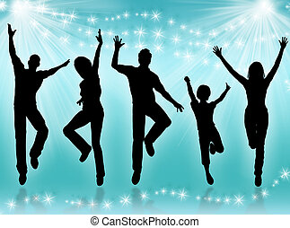 Young people dancing - Young people and friends jumping and...