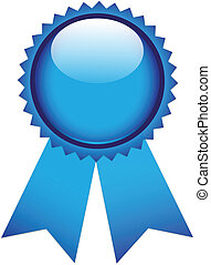 Blue prize ribbon on white