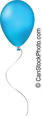 Blue inflatable balloon on white