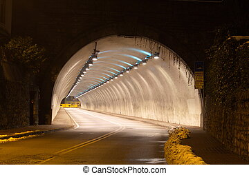 Illuminated road tunel - Nicely illuminated tunnel in...