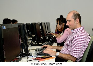 Computer specialist at work
