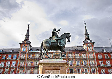 Plaza Mayor in Madrid, Spain. Statue of King Philips III