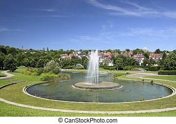 round fountain at urban park, Stuttgart