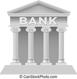 Bank building symbol. Illustration on white background