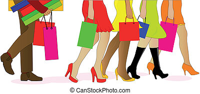 Shopping Legs - A collection of female legs walkig away from...