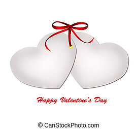 Two valentine card with red ribbon bow isolated on white background