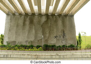 Concrete bridge structure at park - View of a large concrete...