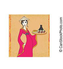beautiful Asian girl enjoy sushi - doodle illustration