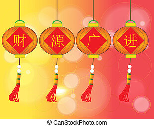 cai yuan guang jin - Chinese Auspicious Word - Bless you...