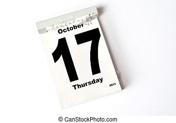 17 October 2013 - calendar sheet