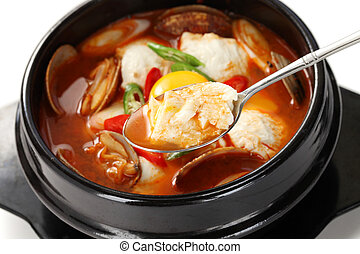 sundubu jjigae, korean cuisine - korean soft tofu stew