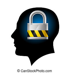 Man with padlock in head. Illustration on white background...