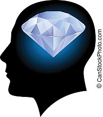 Man head and diamond - Man head silhouette with diamond...