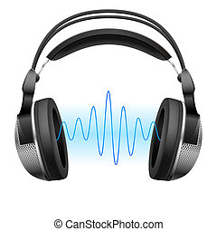 Headphones and music wave. - Realistic headphones and music...