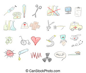 art hand draw medical icons isolated on white background