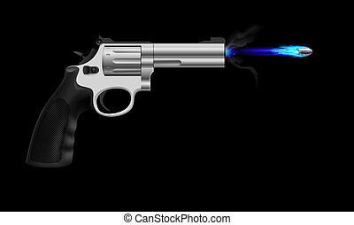 Revolver firing ice bullet. Illustration on black background