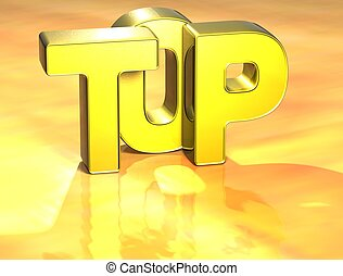 3D Word Top on yellow background