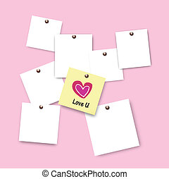 Post it of love on pink background