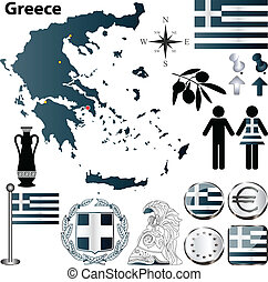 Greece map - Vector set of Greece country shape with flags,...
