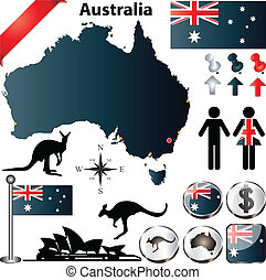 Australia map - Australia vector set with country shape,...