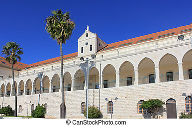Christian school and Salesian church in Nazareth, Israel -...