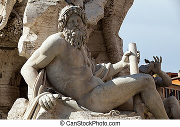 The Fountain of the Four Rivers -  Piazza Navona, Rome, Italy