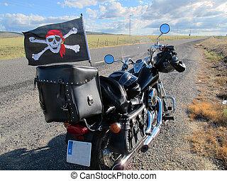 noir, arrêt, motocyclette, autoroute, Os croisés
