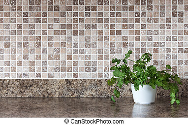 Green herbs on kitchen countertop - White pot with green...