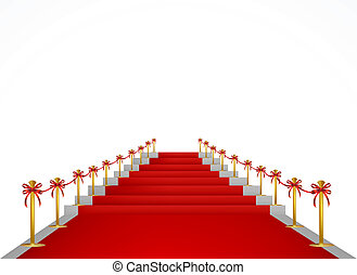 Red carpet and stairs for VIP persons. Vector illustration