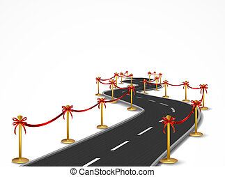 Curved road with gold balustrade and red bow
