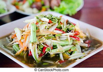 """som tam - thai papaya salad hot and spicy , Thai call """"Som..."""