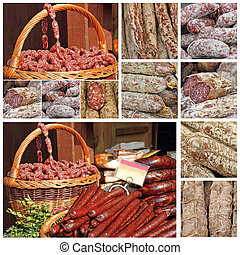 slow food collage made of images from European farmers...