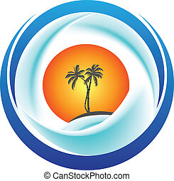 Tropical island logo vector - Tropical island with palms,...
