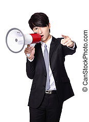 Business man angry screaming by megaphone