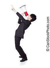 business man shouting into a megaphone - Young business man...