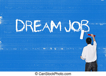 Man painting word on cement texture wall background, Career...