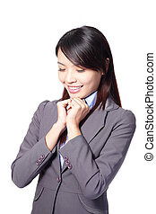 business woman day dreaming wish good thing happen smiling...