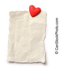 corazón, hoja, texto, papel, blanco, su, rojo