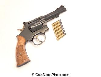 clássicas, seis, atirador, arma, Balas