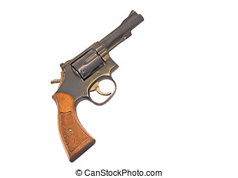 Classic six shooter - Profile of a .38 caliber gun with wood...