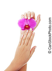 Close up shoot of beautiful female hands - Hands care...
