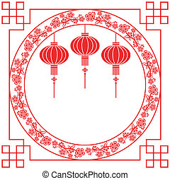 Chinese New Year Red Lantern Background - Chinese Paper...