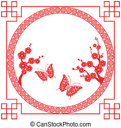 Chinese New Year greeting card - Oriental style Cherry...